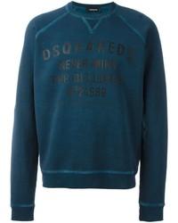 Темно-бирюзовый свитер с круглым вырезом с принтом