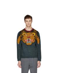 Мужской темно-бирюзовый свитер с круглым вырезом с принтом от Kenzo