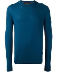 Темно-бирюзовый свитер с круглым вырезом