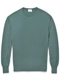 Мужской темно-бирюзовый свитер с круглым вырезом