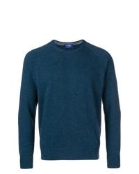 Мужской темно-бирюзовый свитер с круглым вырезом от Barba