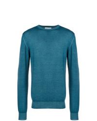 Мужской темно-бирюзовый свитер с круглым вырезом от Etro