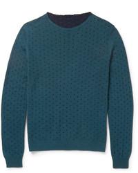 Мужской темно-бирюзовый свитер с круглым вырезом от Incotex