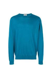 Мужской темно-бирюзовый свитер с круглым вырезом от John Smedley