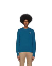 Мужской темно-бирюзовый свитер с круглым вырезом от Ps By Paul Smith