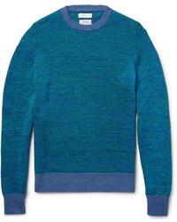 Мужской темно-бирюзовый свитер с круглым вырезом от Richard James