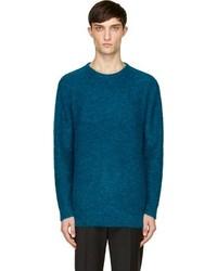 Мужской темно-бирюзовый свитер с круглым вырезом от Richard Nicoll