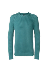 Мужской темно-бирюзовый свитер с круглым вырезом от Roberto Collina