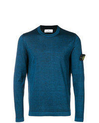 Мужской темно-бирюзовый свитер с круглым вырезом от Stone Island