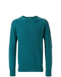 Мужской темно-бирюзовый свитер с круглым вырезом от YMC