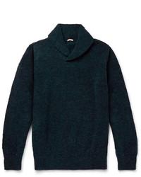 Темно-бирюзовый свитер с отложным воротником