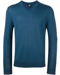 Темно-бирюзовый свитер с v-образным вырезом