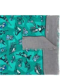 Темно-бирюзовый шарф с принтом