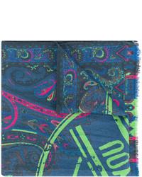 Мужской темно-бирюзовый шарф с принтом от Etro