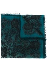 Темно-бирюзовый шелковый шарф с принтом