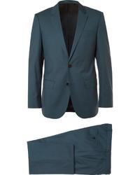 Темно-бирюзовый шерстяной костюм