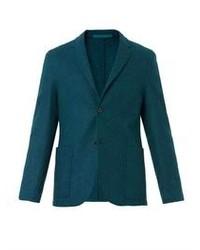 Темно-бирюзовый шерстяной пиджак