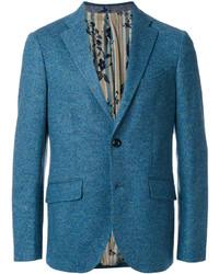 Мужской темно-бирюзовый шерстяной пиджак от Etro