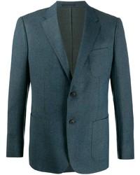 Мужской темно-бирюзовый шерстяной пиджак от Z Zegna