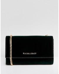 Темно-зеленая бархатная сумка через плечо