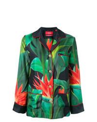 Темно-зеленая блуза на пуговицах с цветочным принтом