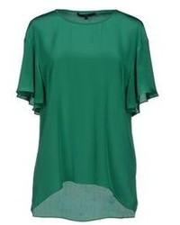 Темно-зеленая блуза с коротким рукавом