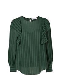22e6c09e2a6 Темно-зеленая блузка с длинным рукавом в вертикальную полоску от See by  Chloe