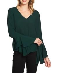 Темно-зеленая блузка с длинным рукавом с рюшами
