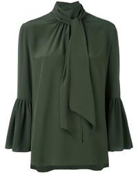 Темно-зеленая блузка с длинным рукавом с рюшами от Fendi