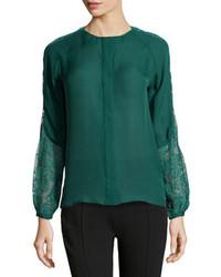 Темно-зеленая блузка с длинным рукавом