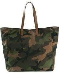 Темно-зеленая большая сумка из плотной ткани с камуфляжным принтом