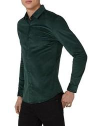 Темно-зеленая вельветовая рубашка с длинным рукавом