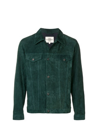 Темно-зеленая замшевая куртка-рубашка