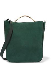 Темно-зеленая замшевая сумка через плечо