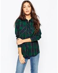 e413bf03cab Купить женскую темно-зеленую классическую рубашку в клетку - модные ...