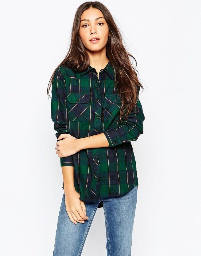 4b9091decc6 ... Женская темно-зеленая классическая рубашка в клетку ...
