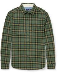 Мужская темно-зеленая классическая рубашка в шотландскую клетку
