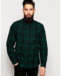 Мужская темно-зеленая классическая рубашка в шотландскую клетку от Asos