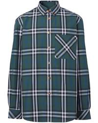 Мужская темно-зеленая классическая рубашка в шотландскую клетку от Burberry