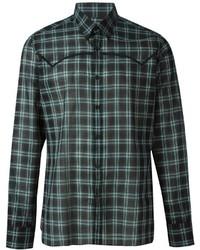Мужская темно-зеленая классическая рубашка в шотландскую клетку от Lanvin