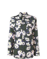 Женская темно-зеленая классическая рубашка с цветочным принтом от Marni