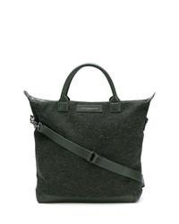 Темно-зеленая кожаная большая сумка