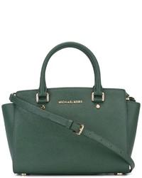 Женская темно-зеленая кожаная большая сумка от MICHAEL Michael Kors