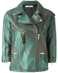 Женская темно-зеленая кожаная косуха от Golden Goose Deluxe Brand