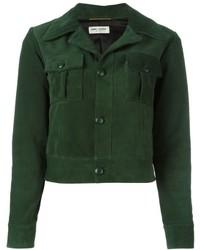 Женская темно-зеленая кожаная куртка от Saint Laurent