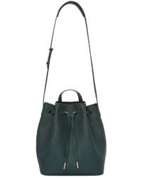 Темно-зеленая кожаная сумка-мешок