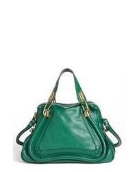 Темно-зеленая кожаная сумка-саквояж