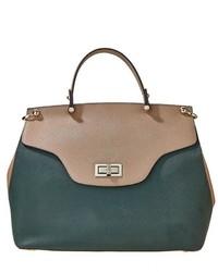 Женская темно-зеленая кожаная сумка-саквояж