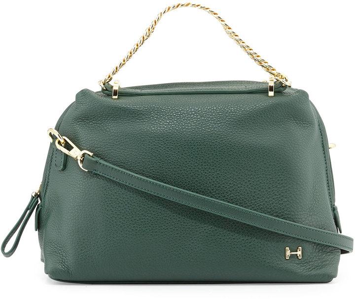 eaa889ea7918 Темно-зеленая кожаная сумка-саквояж от Halston | Где купить и с чем ...