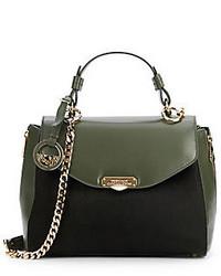 Женская темно-зеленая кожаная сумка-саквояж от Versace